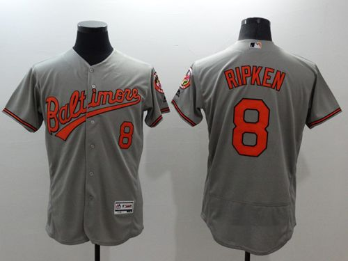 Men's Baltimore Orioles #8 Cal Ripken Grey Flexbase Authentic Collection Stitched MLB Jersey