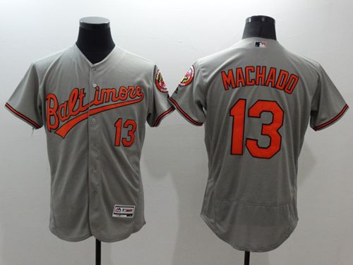 Men's Baltimore Orioles #13 Manny Machado Grey Flexbase Authentic Collection Stitched MLB Jersey