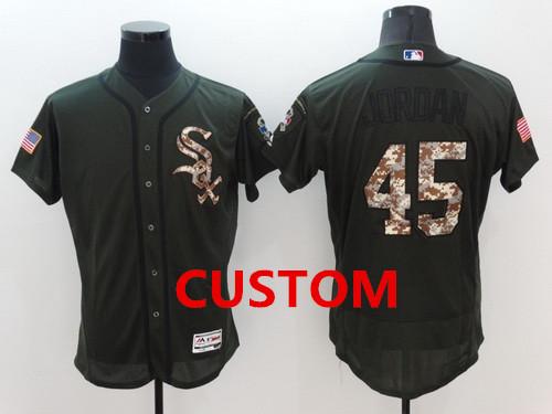 Custom Chicago White Sox Retired Green Salute to Service 2016 Flexbase Majestic Baseball Jersey