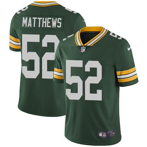 Nike Green Bay Packers #52 Clay Matthews Green Team Color Men's Stitched NFL Vapor Untouchable Limited Jersey