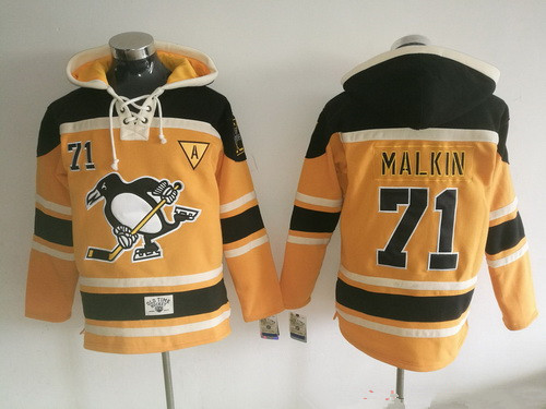 Men's Pittsburgh Penguins #71 Evgeni Malkin 2016 NEW Yellow Stitched NHL Old Time Hockey Hoodie