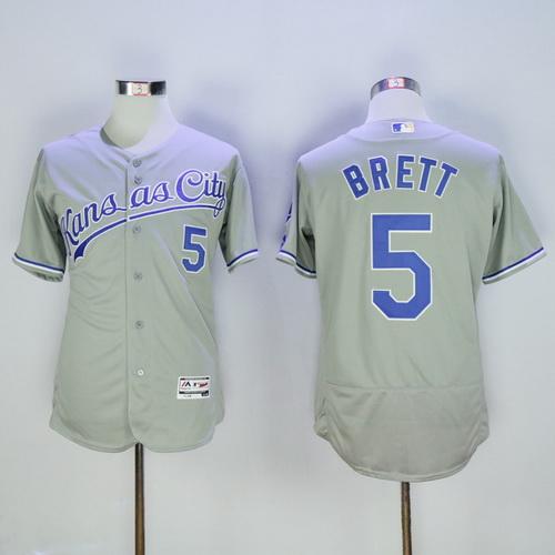 Men's Kansas City Royals #5 George Brett Retired Gray Road Stitched MLB Majestic Flex Base Jersey Program Flex Base Jersey