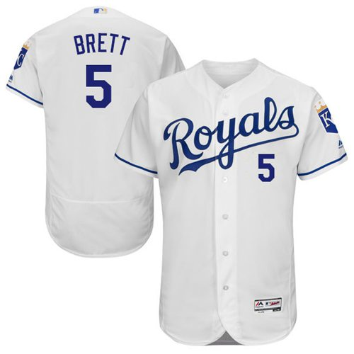 Men's Kansas City Royals #5 George Brett White Flexbase Authentic Collection Stitched MLB Jersey