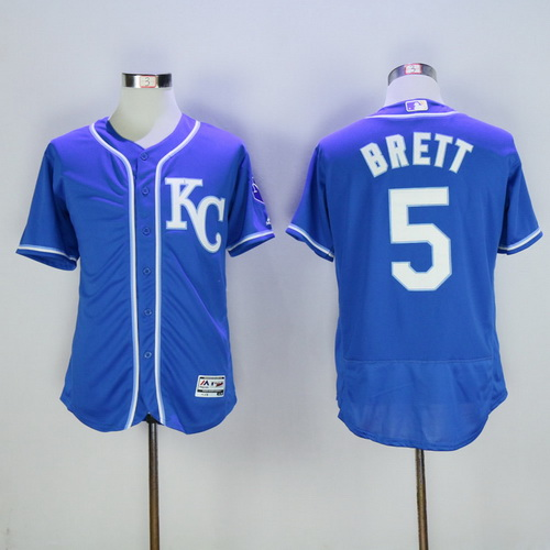 Men's Kansas City Royals #5 George Brett Retired Navy Blue KC Stitched MLB Majestic Flex Base Jersey