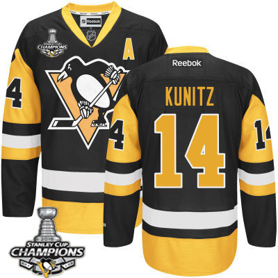 Men's Pittsburgh Penguins #14 Chris Kunitz Black Third A Patch Jersey 2017 Stanley Cup Champions Patch