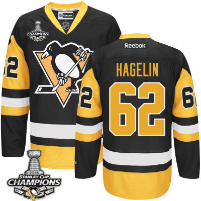 Men's Pittsburgh Penguins #62 Carl Hagelin Black Third Jersey 2017 Stanley Cup Champions Patch