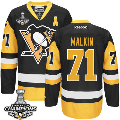 Men's Pittsburgh Penguins #71 Evgeni Malkin Black Third A Patch Jersey 2017 Stanley Cup Champions Patch