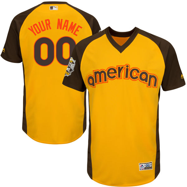 Men's American League Majestic Gold 2016 MLB All-Star Game Cool Base Custom Jersey