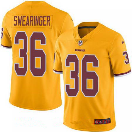 Youth Washington Redskins #36 D.J. Swearinger Gold 2016 Color Rush Stitched NFL Nike Limited Jersey