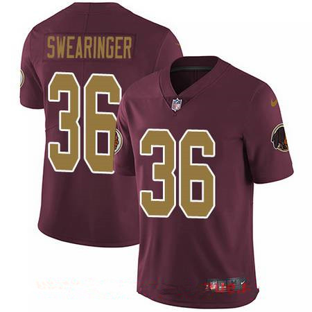 Youth Washington Redskins #36 D.J. Swearinger Red with Gold Alternate Stitched NFL Nike Game Jersey