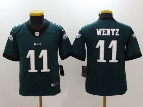 Youth Philadelphia Eagles #11 Carson Wentz Midnight Green 2017 Vapor Untouchable Stitched NFL Nike Limited Jersey