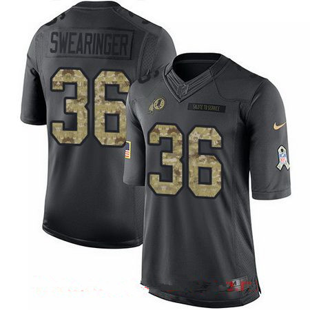 Youth Washington Redskins #36 D.J. Swearinger Black Anthracite 2016 Salute To Service Stitched NFL Nike Limited Jersey