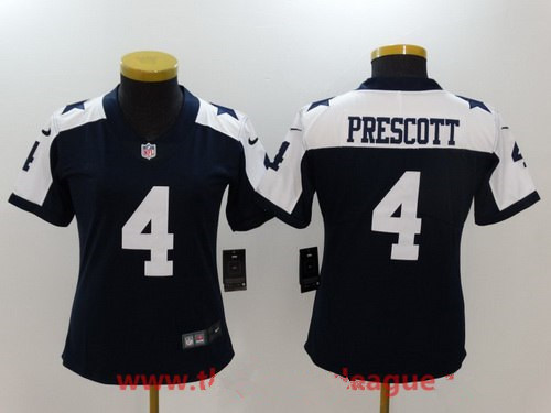 Women's Dallas Cowboys #4 Dak Prescott Navy Blue Thanksgiving 2017 Vapor Untouchable Stitched NFL Nike Limited Jersey