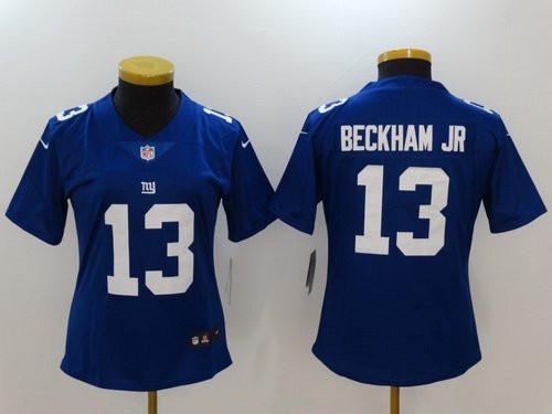 Women's New York Giants #13 Odell Beckham Jr Royal Blue 2017 Vapor Untouchable Stitched NFL Nike Limited Jersey