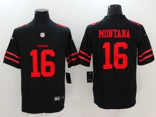 Women's San Francisco 49ers #16 Joe Montana Black 2017 Vapor Untouchable Stitched NFL Nike Limited Jersey