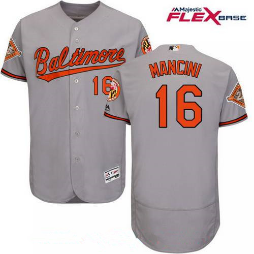 Men's Baltimore Orioles #16 Trey Mancini Gray Road 25th Patch Stitched MLB Majestic Flex Base Jersey