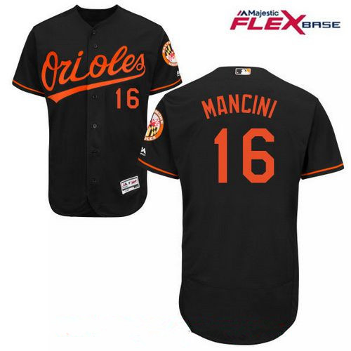 Men's Baltimore Orioles #16 Trey Mancini Black Road Stitched MLB Majestic Flex Base Jersey
