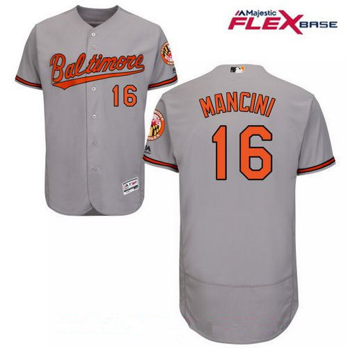 Men's Baltimore Orioles #16 Trey Mancini Gray Road Stitched MLB Majestic Flex Base Jersey