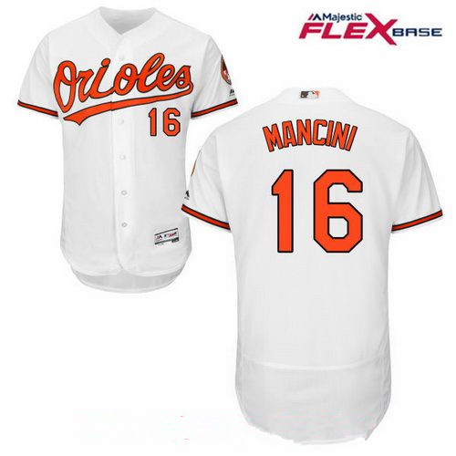 Men's Baltimore Orioles #16 Trey Mancini White Home Stitched MLB Majestic Flex Base Jersey