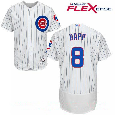Men's Chicago Cubs #8 Ian Happ White Home Stitched MLB Majestic Flex Base Jersey