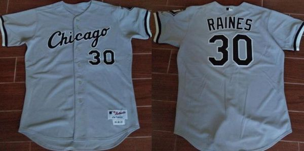 Men's Chicago White Sox #30 Tim Raines Retired Gray Road Stitched MLB Majestic Cooperstown Collection Jersey