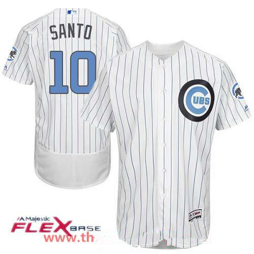 Men's Chicago Cubs #10 Ron Santo White with Baby Blue Father's Day Stitched MLB Majestic Flex Base Jersey