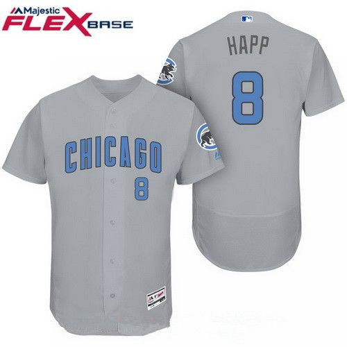 Men's Chicago Cubs #8 Ian Happ Gray with Baby Blue Father's Day Stitched MLB Majestic Flex Base Jersey