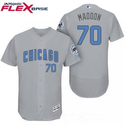 Men's Chicago Cubs #70 Joe Maddon Gray with Baby Blue Father's Day Stitched MLB Majestic Flex Base Jersey