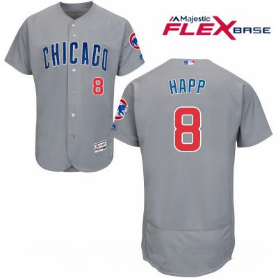 Men's Chicago Cubs #8 Ian Happ Gray Road Stitched MLB Majestic Flex Base Jersey