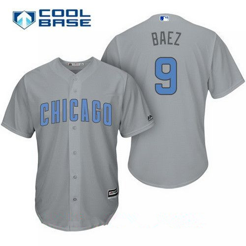 Men's Chicago Cubs #9 Javier Baez Gray with Baby Blue Father's Day Stitched MLB Majestic Cool Base Jersey