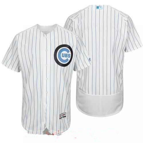 Men's Chicago Cubs Blank White with Baby Blue Father's Day Stitched MLB Majestic Flex Base Jersey