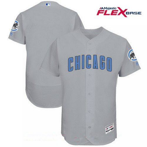Men's Chicago Cubs Blank Gray with Baby Blue Father's Day Stitched MLB Majestic Flex Base Jersey