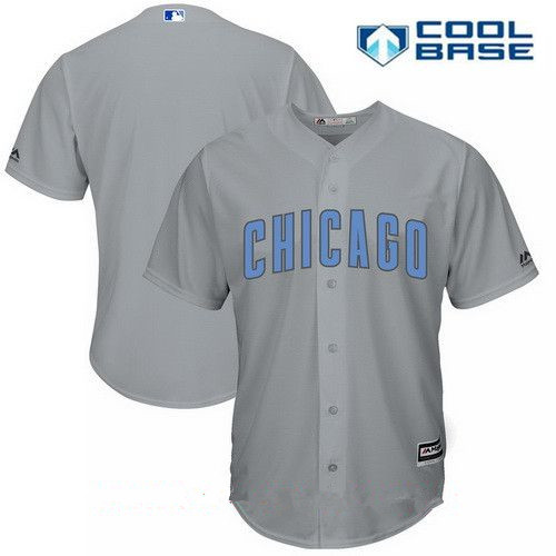 Men's Chicago Cubs Blank Gray with Baby Blue Father's Day Stitched MLB Majestic Cool Base Jersey