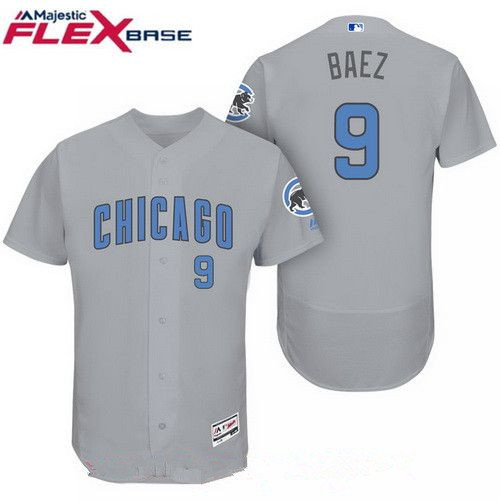 Men's Chicago Cubs #9 Javier Baez Gray with Baby Blue Father's Day Stitched MLB Majestic Flex Base Jersey