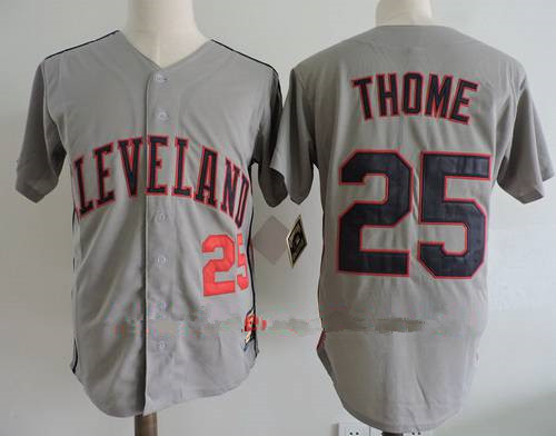 Men's Cleveland Indians #25 Jim Thome Retired Gray Stitched MLB Majestic Cooperstown Collection Jersey