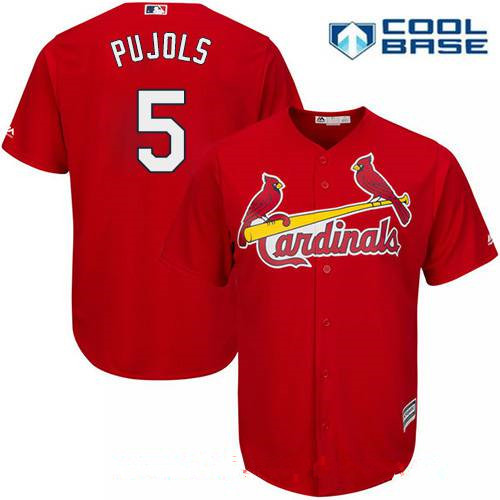 Men's St. Louis Cardinals #5 Albert Pujols Red Alternate Stitched MLB Majestic Cool Base Jersey