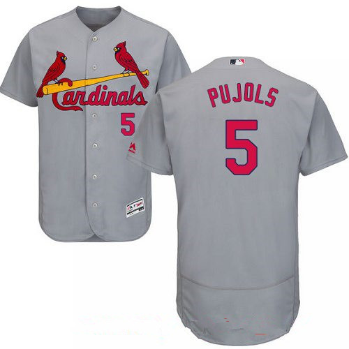 Men's St. Louis Cardinals #5 Albert Pujols Gray Road Stitched MLB Majestic Flex Base Jersey