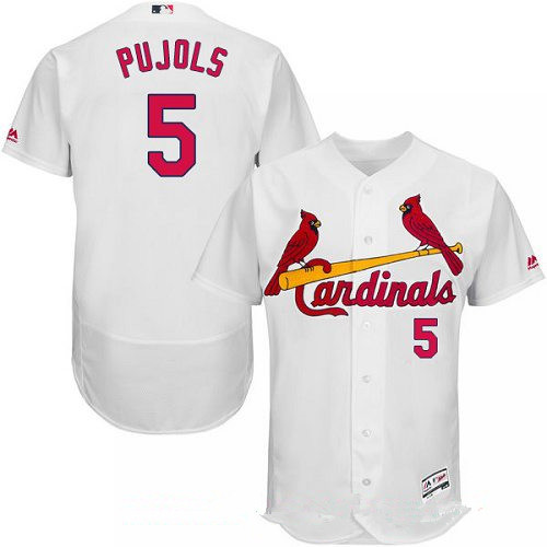 Men's St. Louis Cardinals #5 Albert Pujols White Home Stitched MLB Majestic Flex Base Jersey