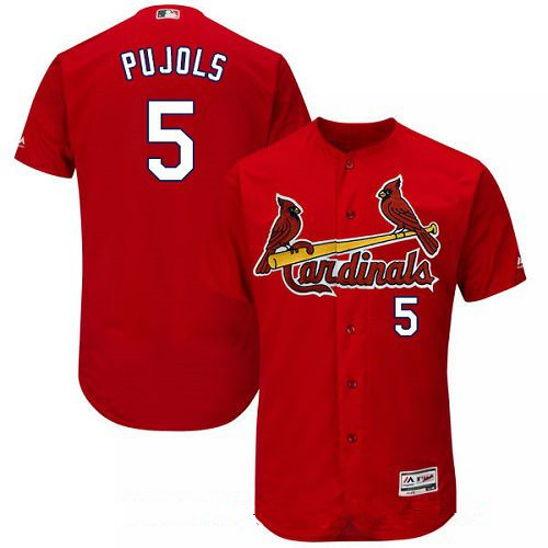 Men's St. Louis Cardinals #5 Albert Pujols Red Alternate Stitched MLB Majestic Flex Base Jersey