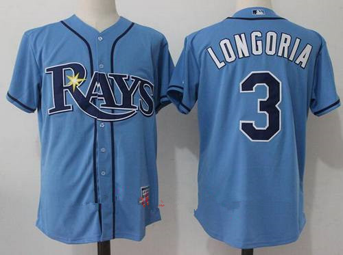 Men's Tampa Bay Rays #3 Evan Longoria Light Blue Alternate Stitched MLB Majestic Cool Base Jersey