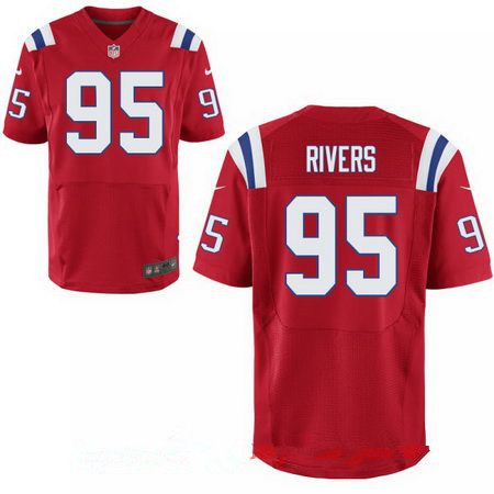 Men's 2017 NFL Draft New England Patriots #95 Derek Rivers Red Alternate Stitched NFL Nike Elite Jersey