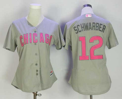 Women's Chicago Cubs #12 Kyle Schwarber Gray with Pink Mother's Day Stitched MLB Majestic Cool Base Jersey