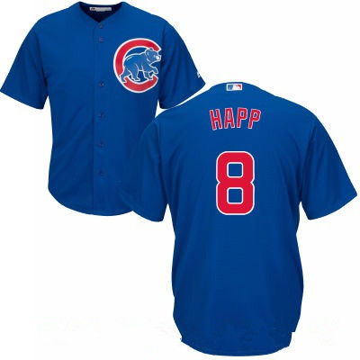 Women's Chicago Cubs #8 Ian Happ Royal Blue Stitched MLB Majestic Cool Base Jersey