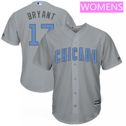 Women's Chicago Cubs #17 Kris Bryant Gray with Baby Blue Father's Day Stitched MLB Majestic Cool Base Jersey