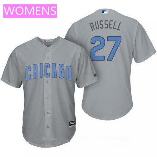 Women's Chicago Cubs #27 Addison Russell Gray with Baby Blue Father's Day Stitched MLB Majestic Cool Base Jersey