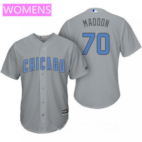 Women's Chicago Cubs #70 Joe Maddon Gray with Baby Blue Father's Day Stitched MLB Majestic Cool Base Jersey