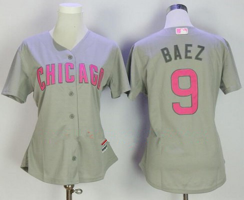 Women's Chicago Cubs #9 Javier Baez Gray with Pink Mother's Day Stitched MLB Majestic Cool Base Jersey