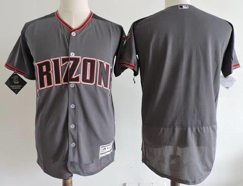 Men's Arizona Diamondbacks Blank Gray 2017 Road Brick Stitched MLB Majestic Flex Base Jersey