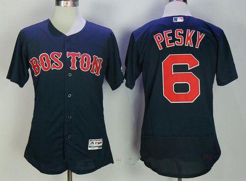 Men's Boston Red Sox #6 Johnny Pesky Retired Navy Blue Stitched MLB Majestic Flex Base Jersey