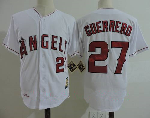 Men's California Angels #27 Vladimir Guerrero White 2004 Throwback Cooperstown Collection Stitched MLB Mitchell & Ness Jersey
